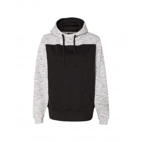 JA8676 J America JA8676 Adult Melange Color Blocked Hooded Sweatshirt BLACK/WHITE