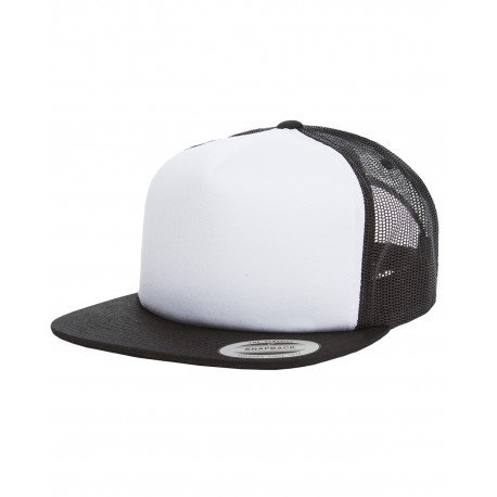 6005FW Yupoong 6005FW Foam Trucker with White Front Snapback BLACK/WHT/BLK