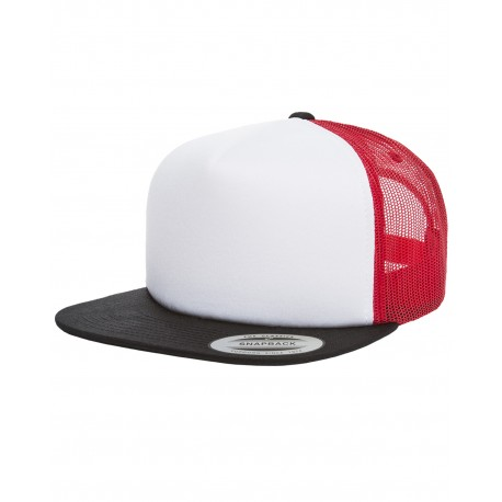 6005FW Yupoong 6005FW Foam Trucker with White Front Snapback BLACK/WHT/RED