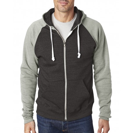 JA8874 J America JA8874 Adult Triblend Colorblock Full-Zip Fleece Hood BLACK/GRY TRBLND