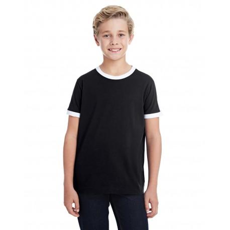 6132 LAT 6132 Youth Soccer Ringer Fine Jersey T-Shirt BLACK/WHITE