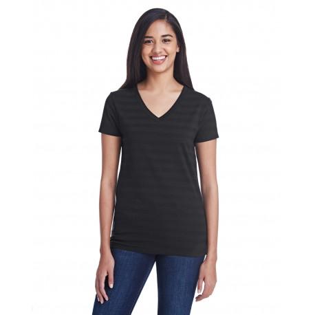 252RV Threadfast Apparel 252RV Ladies' Invisible Stripe V-Neck T-Shirt BLCK INVSBL STRP
