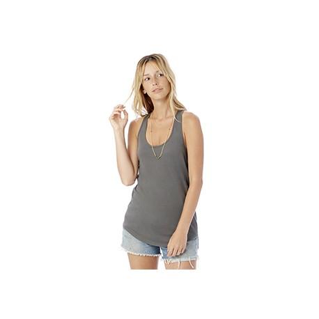 04031C1 Alternative 04031C1 Ladies' Shirttail Satin Jersey Tank ASPHALT