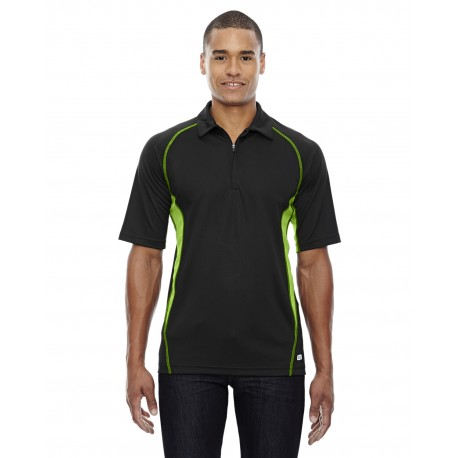 88657 North End 88657 Men's Serac UTK cool?logik Performance Zippered Polo BLK/ACD GRN 453