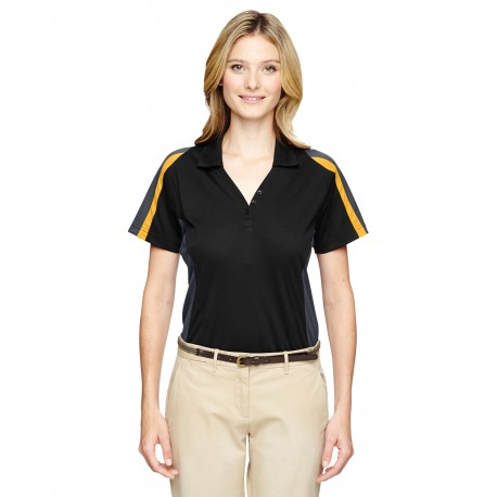 75119 Extreme 75119 Ladies' Eperformance Strike Colorblock Snag Protection Polo BLK/CMP GLD 464