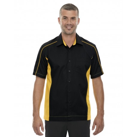 87042T North End 87042T Men's Tall Fuse Colorblock Twill Shirt BLK/CMP GLD 464