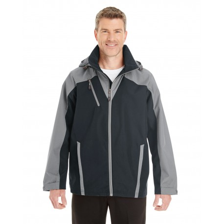 NE700 North End NE700 Men's Embark Interactive Colorblock Shell with Reflective Printed Panels BLK/GR/GR 703