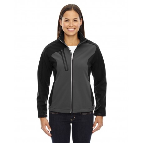 78176 North End 78176 Ladies' Terrain Colorblock Soft Shell with Embossed Print BLKSILK 866
