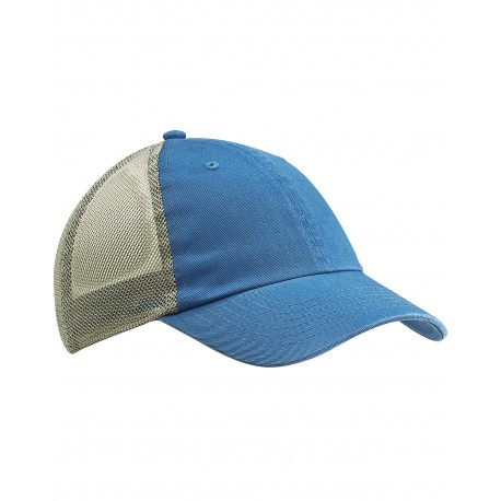 BA601 Big Accessories BA601 Washed Trucker Cap BLUE/GRAY
