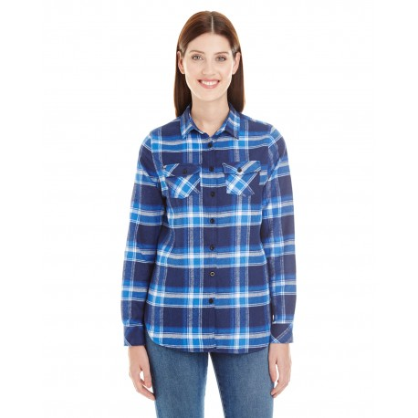 B5210 Burnside B5210 Ladies' Plaid Boyfriend Flannel BLUE/WHITE