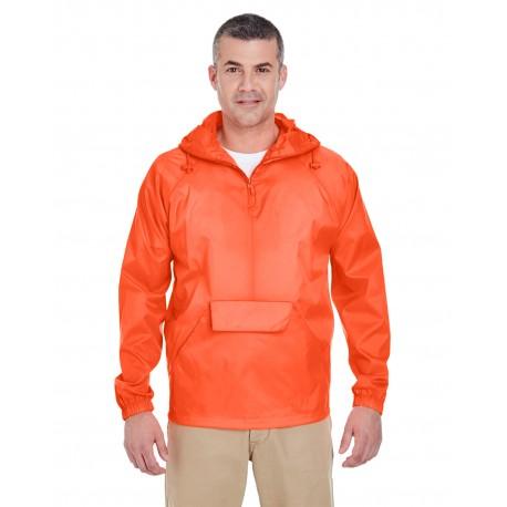 8925 UltraClub 8925 Adult Quarter-Zip Hooded Pullover Pack-Away Jacket BRIGHT ORANGE