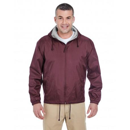 8915 UltraClub 8915 Adult Fleece-Lined Hooded Jacket BURGUNDY