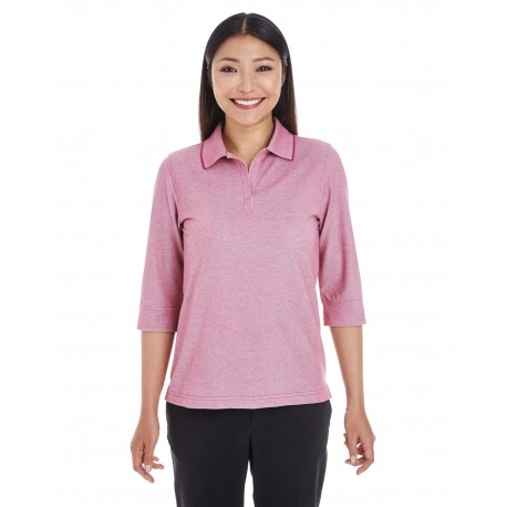 DG220W Devon & Jones DG220W Ladies' Pima-Tech Oxford Pique Polo BURGUNDY HEATHER