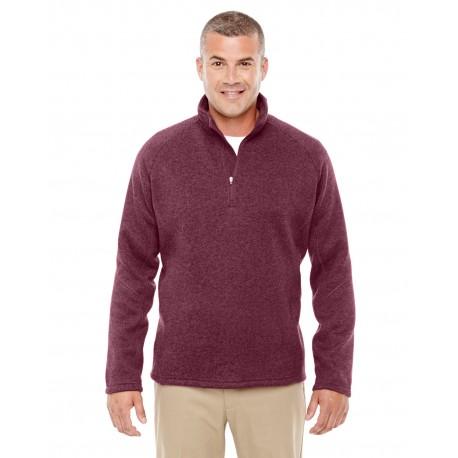 DG792 Devon & Jones DG792 Adult Bristol Sweater Fleece Quarter-Zip BURGUNDY HEATHER