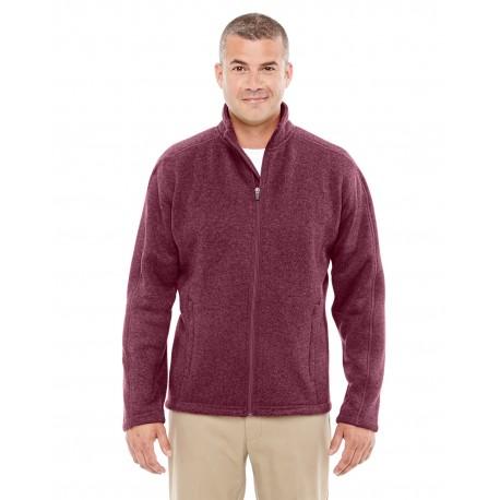 DG793 Devon & Jones DG793 Men's Bristol Full-Zip Sweater Fleece Jacket BURGUNDY HEATHER