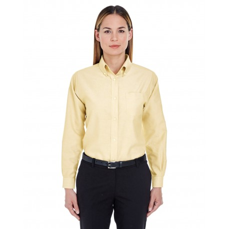 8990 UltraClub 8990 Ladies' Classic Wrinkle-Resistant Long-Sleeve Oxford BUTTER