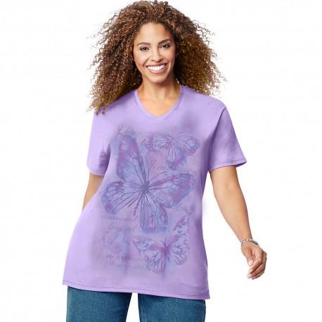 GTJ181 Y05542 Just My Size GTJ181 Y05542 Big Butterfly Impression Short Sleeve Graphic Tee Salty Purple