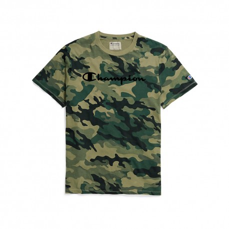T3332P 549920 Champion T3332P 549920 Mens Vintage Dye Tee Flocked Script Logo Fig Green Camo
