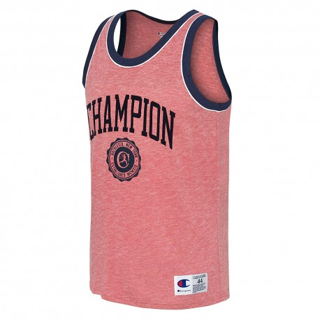 T39473 549802 Champion T39473 549802 Mens Heritage Tank Collegiate Crest Fire Roasted Red Heather/Imperial Indigo/White