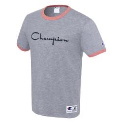 Champion T39474 549814 Mens Heritage Ringer Tee Flocked Script Logo