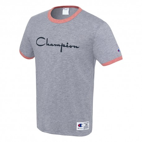 T39474 549814 Champion T39474 549814 Mens Heritage Ringer Tee Flocked Script Logo Imperial Indigo Heather/Fire Roasted Red Heather