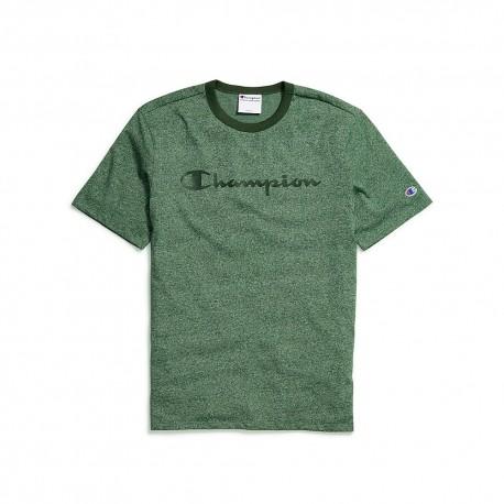 T4508G 549914 Champion T4508G 549914 Mens Heritage Heather Tee Script Logo Dark Green Heather/Dark Green