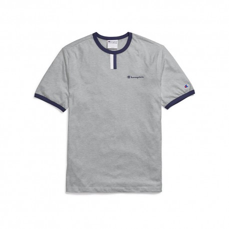 T5050 550031 Champion T5050 550031 Mens YC Tee Script Logo Oxford Grey/Imperial Indigo/White