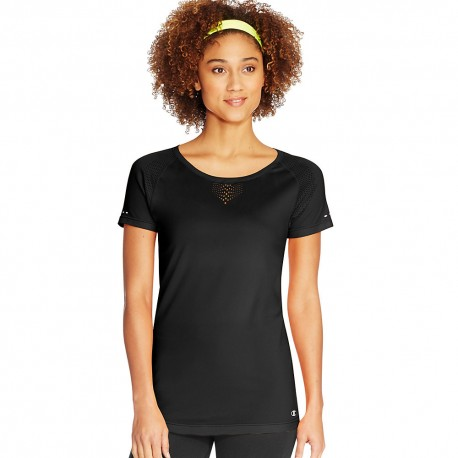 W0133 Champion W0133 Vapor Womens Seamless Mesh Tee BLACK