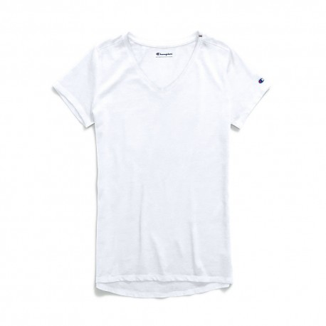 W0821 Champion W0821 Womens Authentic Wash V-Neck Tee WHITE