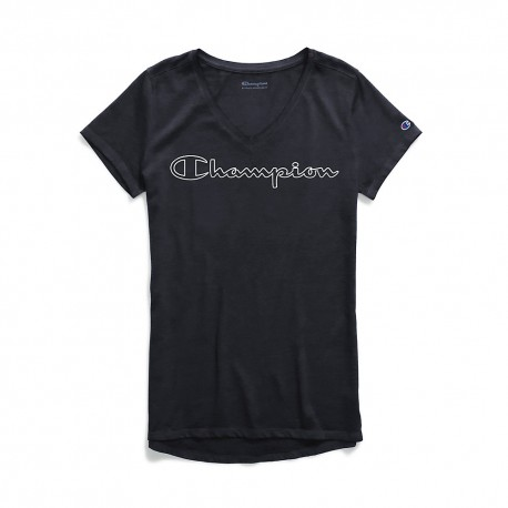 W0821G 549933 Champion W0821G 549933 Womens Authentic Wash V-Neck Tee Colorblock Logo BLACK