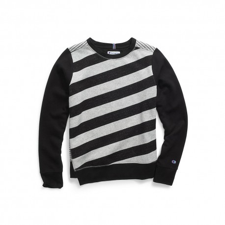 W3130 Champion W3130 Women Heritage Fleece Asymmetrical Stripe Crew Black/Oxford Grey Heather