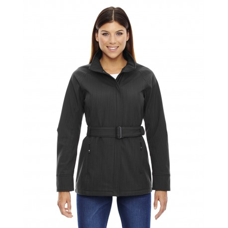 78801 North End 78801 Ladies' Skyscape Three-Layer Textured Two-Tone Soft Shell Jacket CARBN HEATH 452
