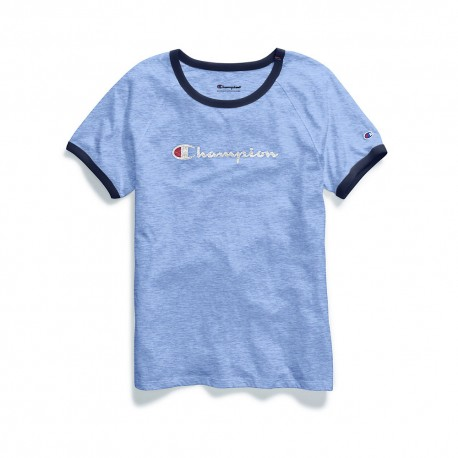 W9843G 549692 Champion W9843G 549692 Womens Heritage Ringer Tee-Classic Script Ocean Front Blue Heather/Imperial Indigo
