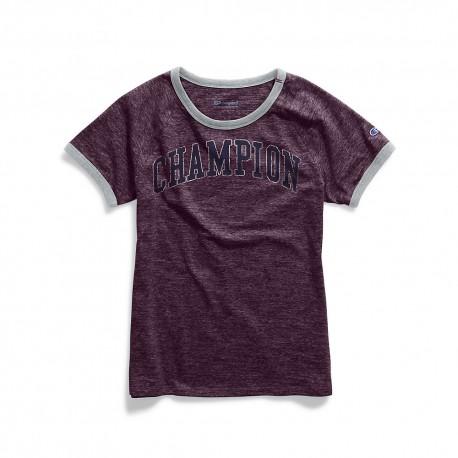 W9843G 549710 Champion W9843G 549710 Women Heritage Ringer Tee-Collegiate Crackle Dark Berry Purple Heather/Oxford Grey Heather
