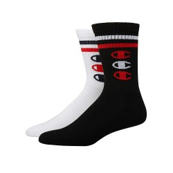 Champion CH168 Champion Mens Performance Crew Socks, Vertical C Logo, 2-Pack