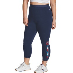 Champion QM523G 550247 Champion Womens Plus Authentic 7/8 Leggings, Vertical Multi-color Shadow Logo