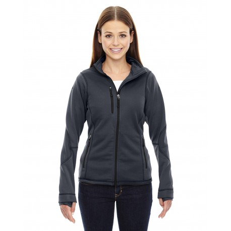 78681 North End 78681 Ladies' Pulse Textured Bonded Fleece Jacket with Print CARBON 456