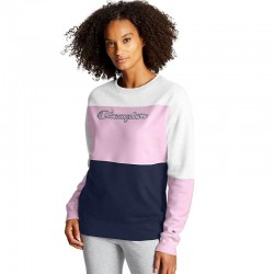 Champion W4419 Y08104 Powerblend Colorblock Crew, Script Logo