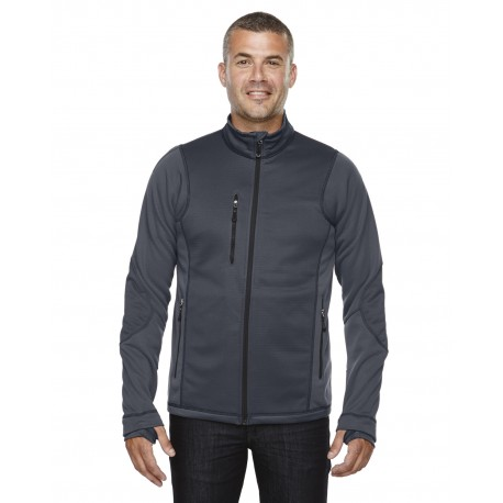 88681 North End 88681 Men's Pulse Textured Bonded Fleece Jacket with Print CARBON 456