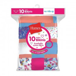 Hanes GP10BK Girls Cotton Bikinis 10-Pack