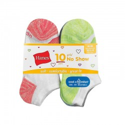 Hanes HGBN10 Girls Cool Comfort No Show Socks 10-Pack