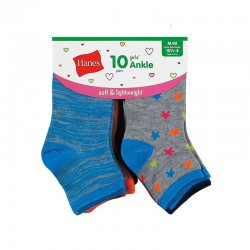 Hanes HGFA10 Girls Fashion Ankle Socks 10-Pack