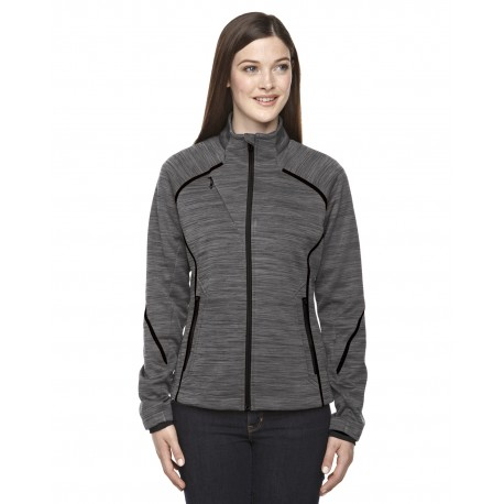78697 North End 78697 Ladies' Flux Melange Bonded Fleece Jacket CARBON/BLK 456