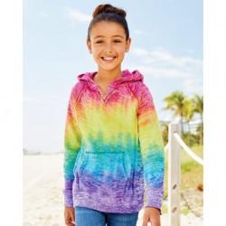 MV Sport W1162Y Girls Courtney Burnout V-Notch Hooded Sweatshirt