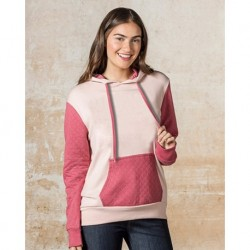 MV Sport W19145 Womens Cloud Fleece Quilted Hooded Sweatshirt