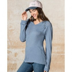 MV Sport W19467 Womens Lace Shoulder Hooded Pullover T-Shirt