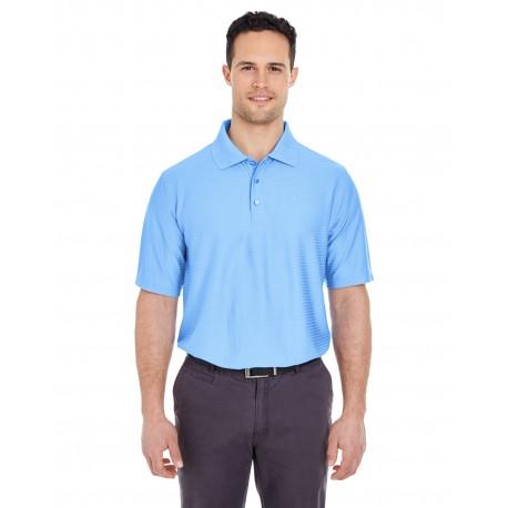8413 UltraClub 8413 Men's Cool & Dry Elite Tonal Stripe Performance Polo CAROLINA BLUE