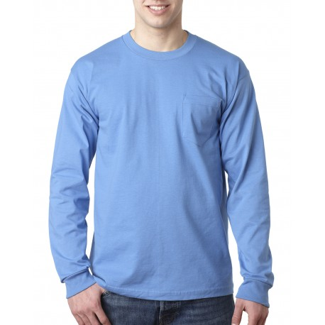 BA8100 Bayside BA8100 Adult Long-Sleeve T-Shirt with Pocket CAROLINA BLUE