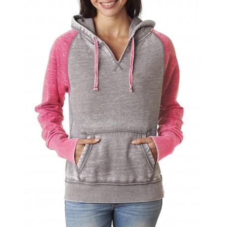 JA8926 J America JA8926 Ladies' Zen Contrast Pullover Hood CEMENT/WILDBRRY