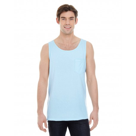 9330 Comfort Colors 9330 Adult Heavyweight RS Pocket Tank CHAMBRAY